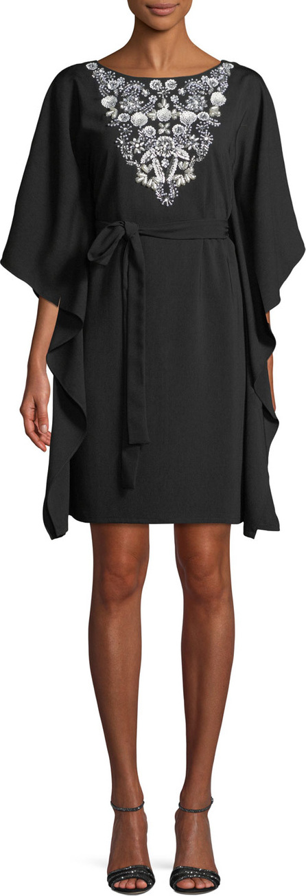 Aidan Mattox Kaftan Insert-Front Mini Dress