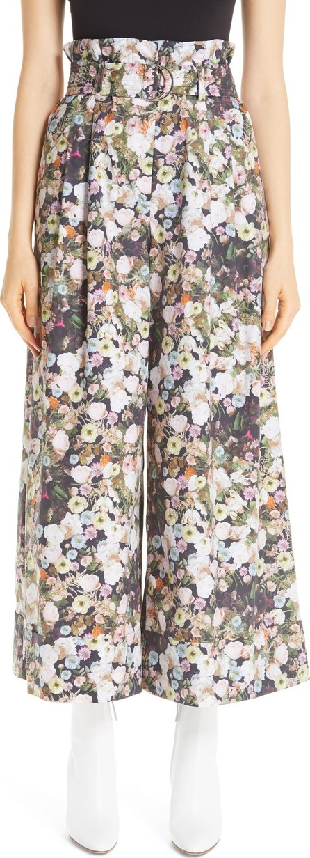 Adam Lippes Floral Poplin Paperbag Waist Pants