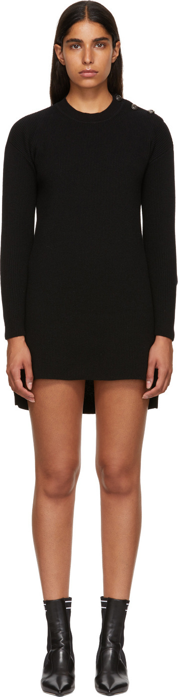 Fendi Black Cashmere 'Forever Fendi' Dress