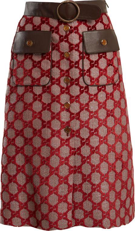 Gucci Logo-jacquard A-line skirt