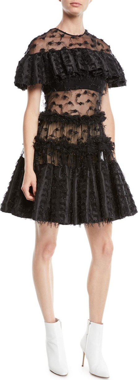 Anaïs Jourden Twinkle Textured Shimmery Ruffle Popover Dress
