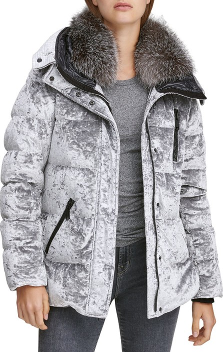 Andrew Marc Vara Crushed Velvet Down Jacket w/ Fur Hood