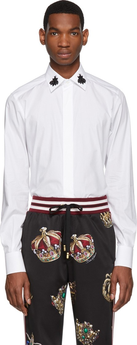 Dolce & Gabbana White Beaded Bees Shirt