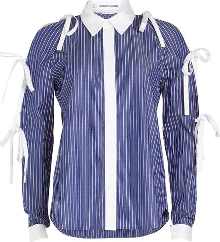 Sandy Liang Striped Cotton Shirt with Bows