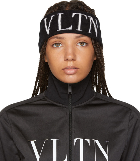 Valentino Black Valentino Garavani 'VLTN' Headband