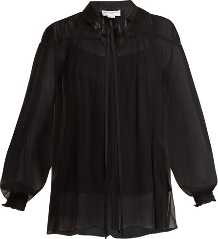 Amanda Wakeley High-neck gathered silk-tulle top