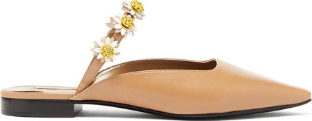 Fabrizio Viti Bea daisy-appliqué leather backless loafers