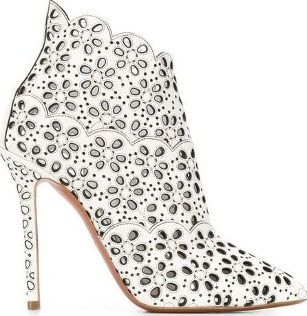 Azzedine Alaia Pointed Toe Eyelet Laser Cut Boots