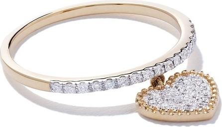 AS29 18kt yellow gold Mye heart beading pave diamond ring