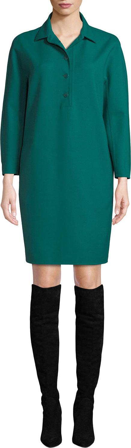 Loro Piana Joana Button-Placket Long-Sleeve Shift Dress