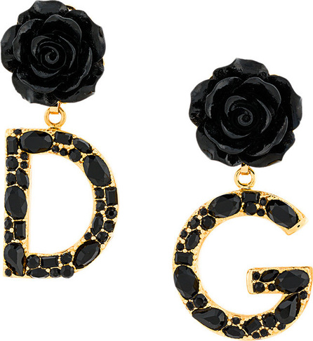 Dolce & Gabbana Rose and logo drop earrings