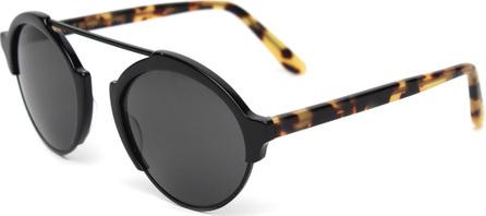 Illesteva Milan3 Polarized RoundSunglasses, Black/Tortoise