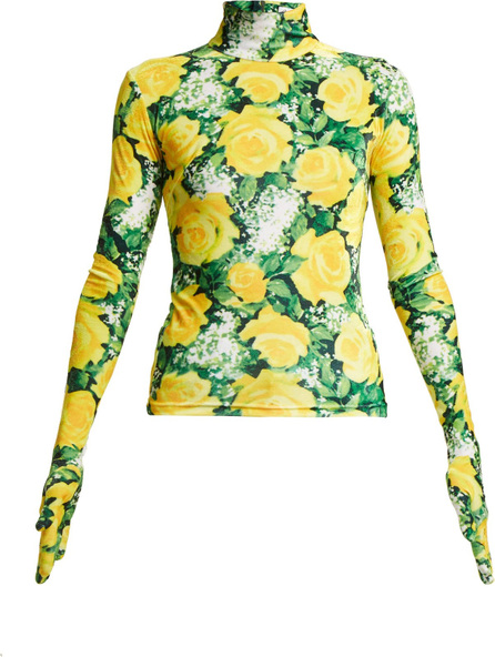 Richard Quinn Rose-print high-neck velvet top