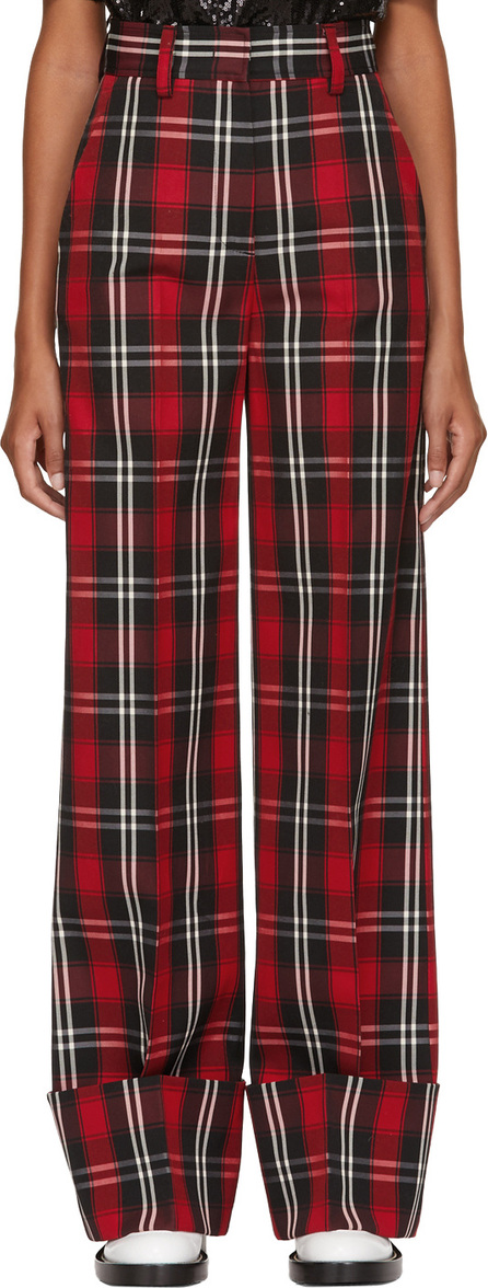 MSGM Red Long Plaid Trousers