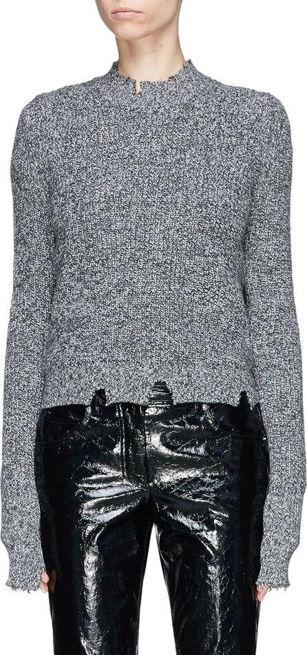 Helmut Lang Distressed hem marl cotton blend sweater