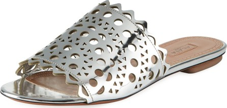 Alaïa Laser-Cut Flat Slide Sandals