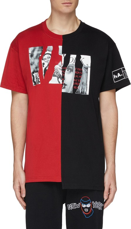 Haculla Slogan graphic print colourblock T-shirt