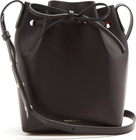Red-lined Mini Mini leather bucket bag