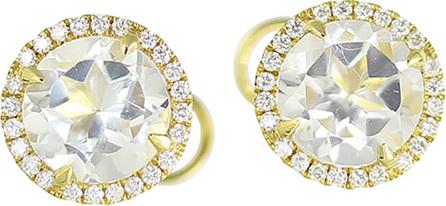 Frederic Sage White Topaz & Diamond Halo Earrings in 18K Gold