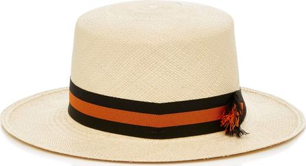Sensi Studio Woven Straw Boater Hat With Striped Band
