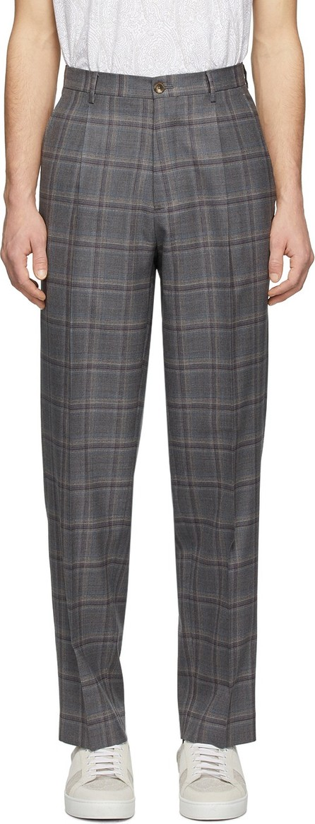 Etro Grey Wool Easy Fit Trousers