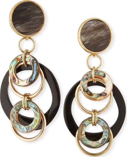 Akola Black Horn & Abalone Earrings