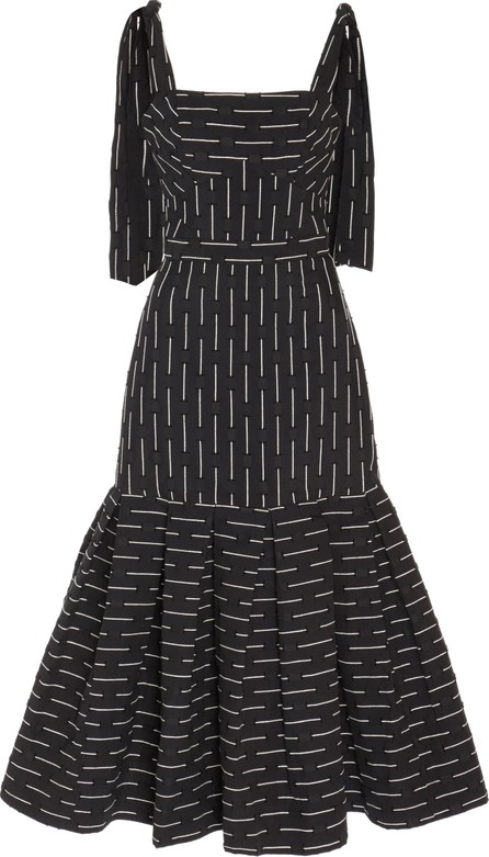 Alexis Leticia Tie-Shoulder Flared-Hem Midi Dress