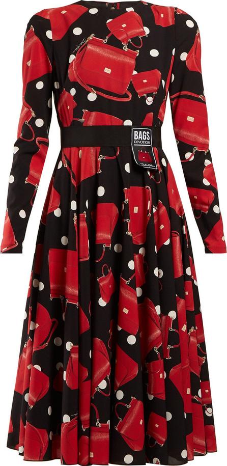 Dolce & Gabbana Handbag-print silk-blend charmeuse dress