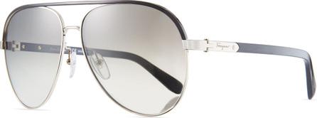 Salvatore Ferragamo Mirrored Aviator Sunglasses w/ Contrast Brow Bar