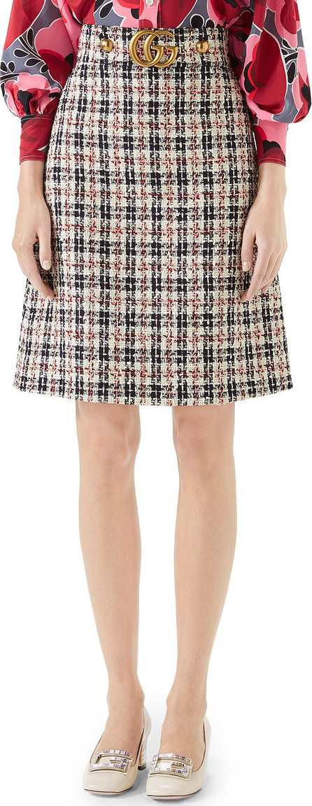 Gucci A-Line Tweed Knee-Length skirt with GG Hardware