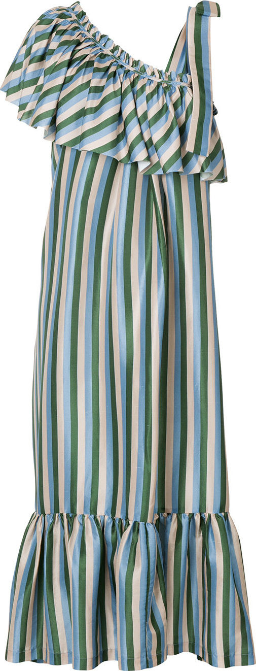 Lee Mathews - Smithson stripe ruffled one shoulder dress