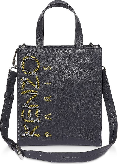 KENZO KENZO Cord Navy Blue Leather Tote Bag