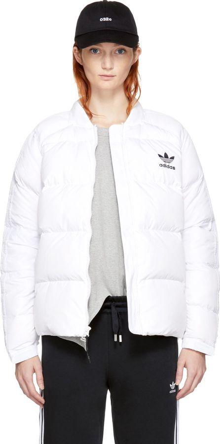 Adidas Originals White Down Superstar 3-Stripes Jacket