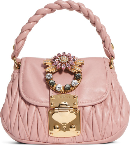 Miu Miu Crystal Embellished Matelassé Leather Satchel