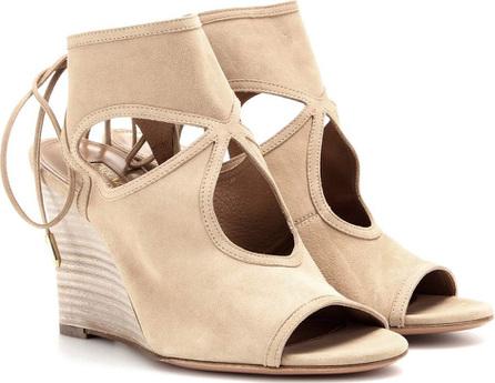 Aquazzura Sexy Thing wedge suede sandals