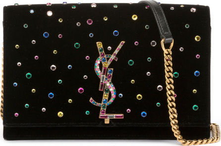 Saint Laurent Kate Jeweled Velvet Small Wallet on Chain