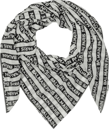 Balmain Black and White Signature Printed Cotton Scarf