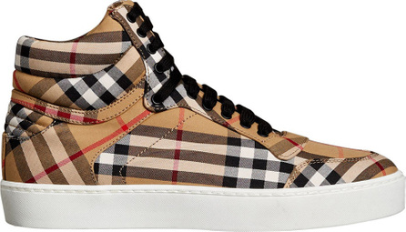 Burberry London England Vintage Check Cotton High-top Sneakers