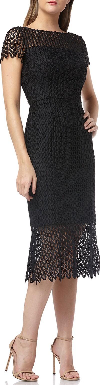 Kay Unger Boat-Neck Short-Sleeve Textured Lace Sheath Dress w/ Flounce Hem