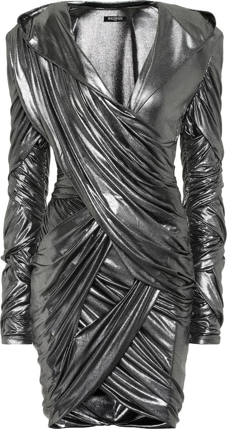 Balmain Hooded lamé minidress