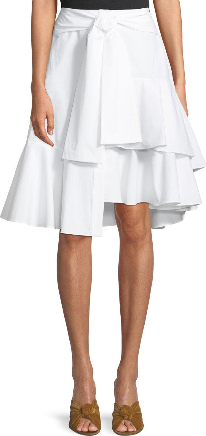 Josie by Natori - Tie-Front Asymmetric Skirt