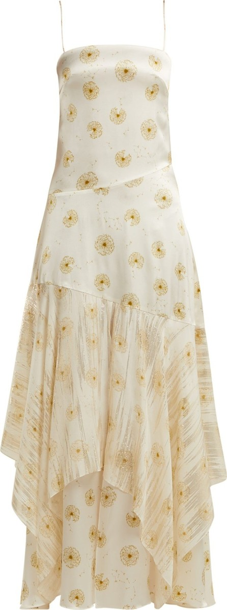 Adriana Iglesias Frida dandelion-print silk-blend satin dress