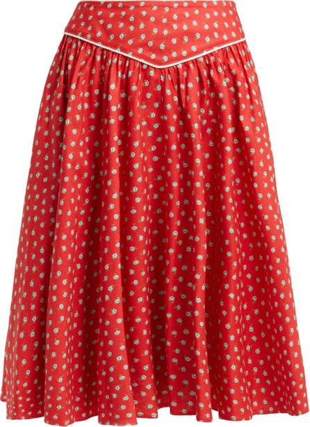 Batsheva Floral-print cotton skirt