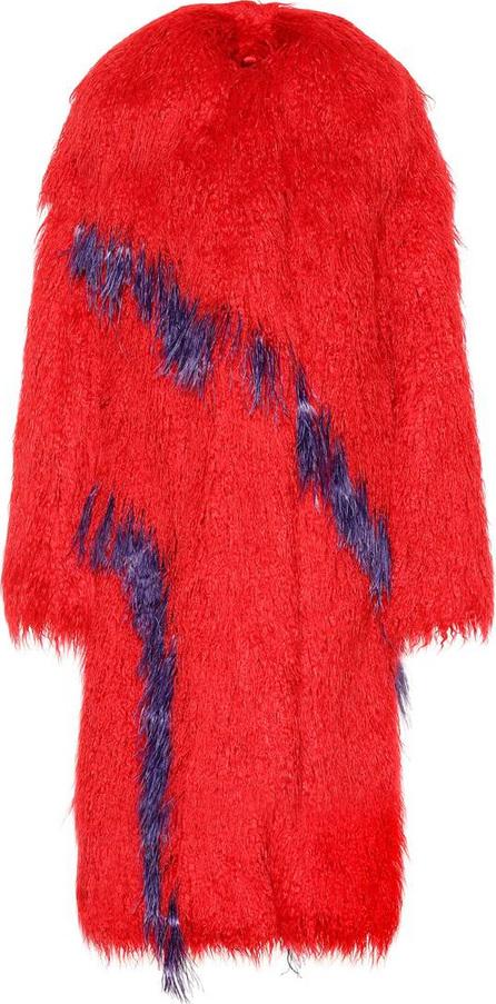Dries Van Noten Feather-trimmed faux fur coat