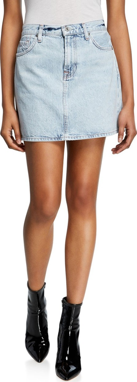 7 For All Mankind Light Wash Denim Mini Skirt