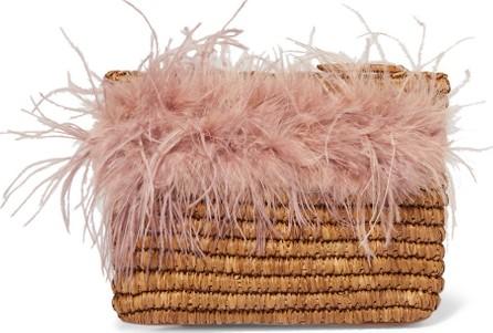 Loeffler Randall Skylar feather-trimmed raffia clutch