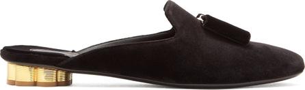 Salvatore Ferragamo Sciacca flower heel velvet backless loafers