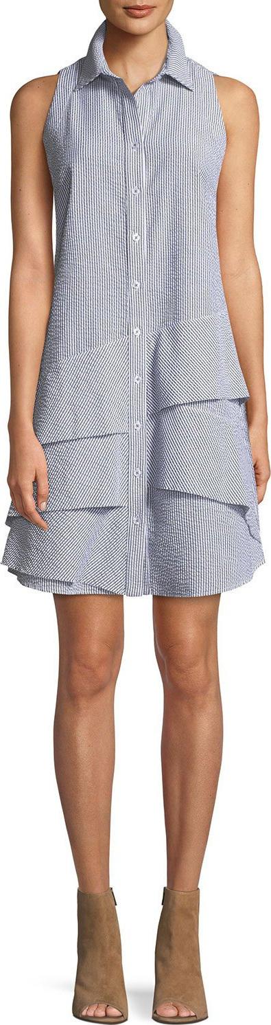 Finley Jenna Sleeveless Striped Seersucker Dress