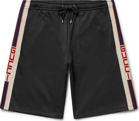 Gucci Webbing-Trimmed Tech-Jersey Shorts