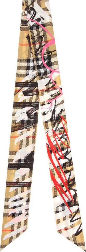 Burberry London England Scribble Check silk twill scarf